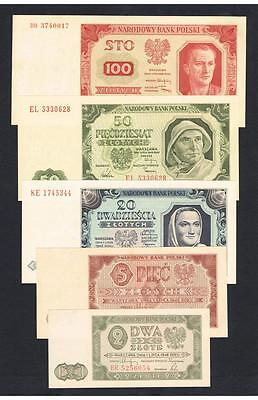 1948 Poland Set of 5 aUNC -  UNC banknotes: 2, 5, 20, 50 and 100 Zlotych