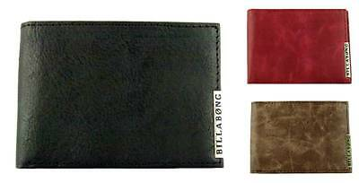 BILLABONG New Mens Surf Leather Wallet Slimline - Black Brown Red MORRISON