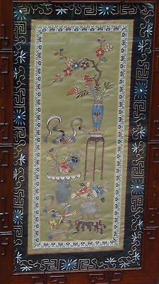 EARLY 20c CHINESE SILK GOLD STITCHES  EMBROIDERY PANEL W/FLOWERS IN VASES,FRAMED