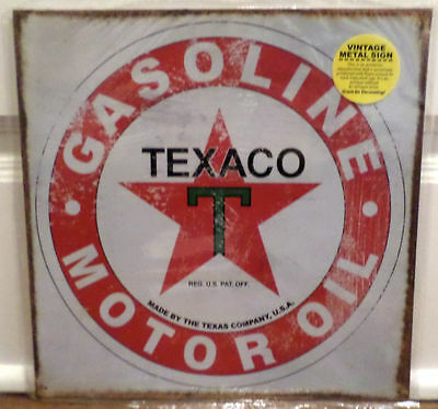 "Nostalgic Tin Metal Sign - Texaco Motor Oil Gas Gasoline 12"" X 12"" Advertising"