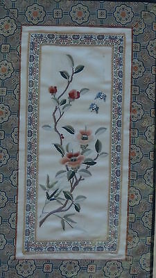 EARLY 20c CHINESE SILK EMBROIDERY FORBIDDEN STITCHES BLOSSOM FLOWERS&BUTTERFLIES