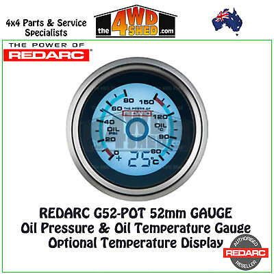 Redarc G52-POT Oil Temperature & Oil Pressure Gauge 52mm w Optional Temp Display