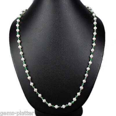 "Elegant One Line 96+ Ct Fresh Water Pearl & Emerald Necklace 24"" Inches Long"