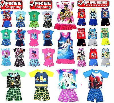 NEW Sz 1~12 KIDS BOYS PYJAMAS PJ PJS SUMMER TOP T-SHIRT SLEEPWEAR NIGHTIE DRESS