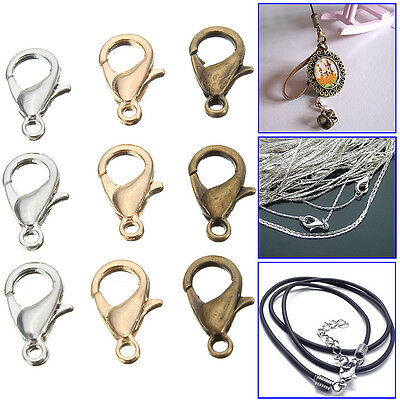 50Pcs 10mm Metal Jewelry Findings Lobster Claw Clasps Fastener Connector Hooks