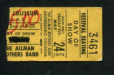 Original 1974 Allman Brothers concert ticket stub Greensboro Brothes and Sisters