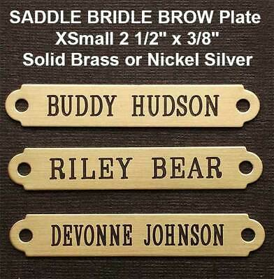 "SADDLE PLATE 2 1/2"" x 3/8"" Custom Engraved Solid Brass Bridle or Brow"