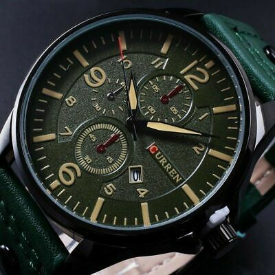 CURREN Men Fashion Military Leather Strap Analog Date Sport Quartz Wrist Watch