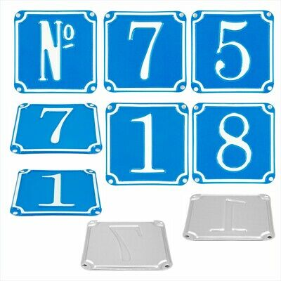 "French Traditional Blue House Number Door Gate plate metal sign plaque 4.4""x4.4"""