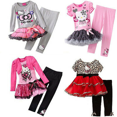 Girl Toddler hello kitty pink tutu dress top + legging 2pcs set Size 2-6 years