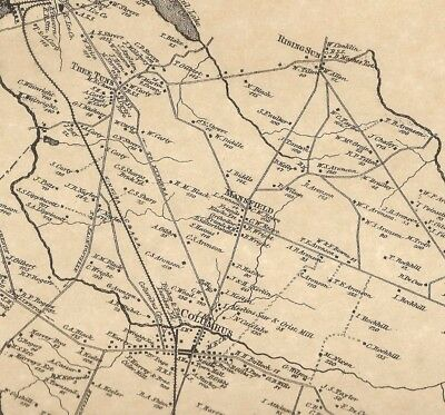 Mansfield Columbus Georgetown Hedding NJ 1876 Maps with Homeowners Names Shown