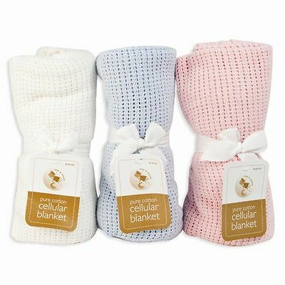 New Pure Cotton Cellular Blanket Soft for Baby Cot Bed Pram Mosses Basket