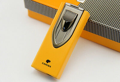 COHIBA Sword Carving Style 2 TORCH JET FLAME CIGAR LIGHTER W PUNCH H107-Yellow
