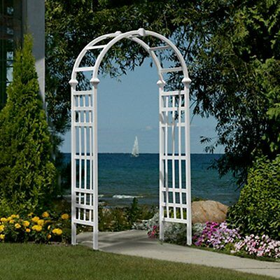 Tall Garden Arbor White Entryway Pathway Lawn Patio Arch Archway Wedding 7 ft H