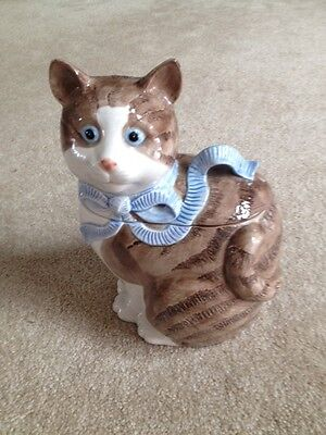 Kitty Cat With Blue Bow. Cookie Jar 1985 Lillian Vernon