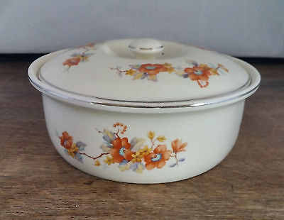 Vintage Coors Thermo Porcelain Pottery Covered Casserole Dish Brown Floral White