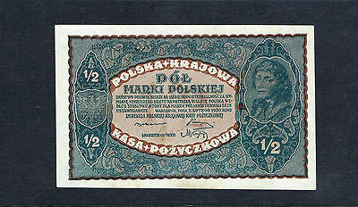 1920 Poland 1/2 Marki UNC Banknote Uncirculated