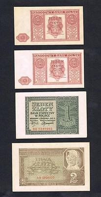 1941 - 1946 Poland Set of 4 XF-UNC banknotes: 1 and 2 Zloty Zlote Zlotych