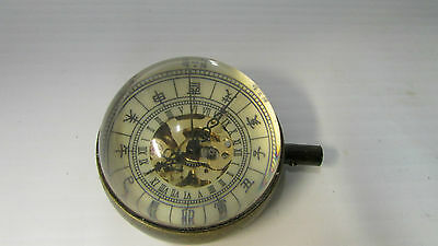 Antique Oriental Brass and Magnifying Dome Shaped Glass Paper Weight Clock
