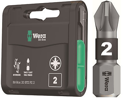 20 X Wera 25mm Visseuse à Percussion Pz2 Pozi 2 Bi-Torsion Extra Résistant