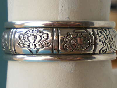 BUDDHIST SILVER ASTAMANGALA RING w SPINNING BAND (Engraved w 8 Auspicious Signs)