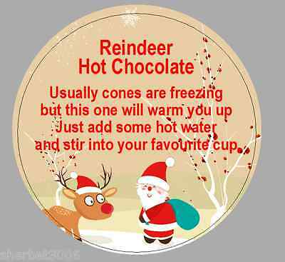 24 x 40mm Round Stickers Christmas Reindeer Hot Chocolate Poem Labels