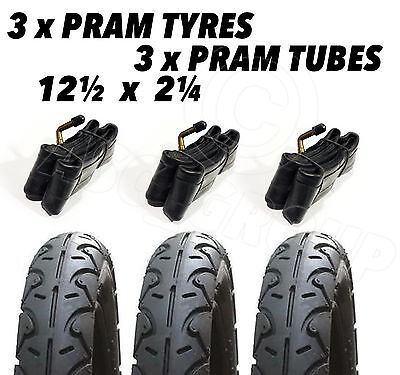 3 X Pram Tyres & 3x Tubes 12 1/2 X 2 1/4 Slick Easywalker Duo Mountain Buggy