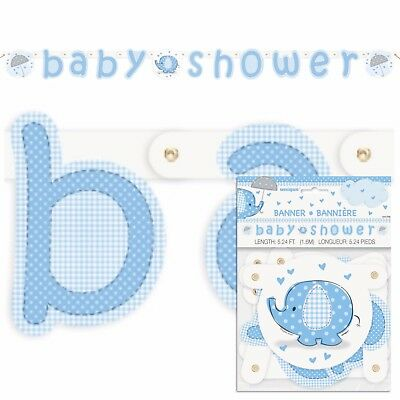 BLUE UMBRELLAPHANTS Jointed Banner, Baby Shower Party Boy, Decorations 41709
