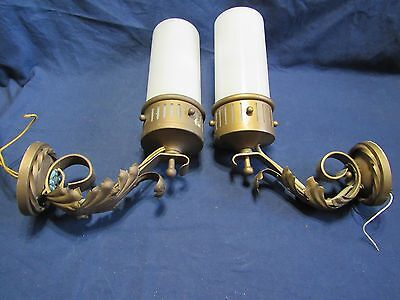 PAIR Vintage Antique Look Metal Wall Sconce/Lamp/Electric Lights Leaf Motif