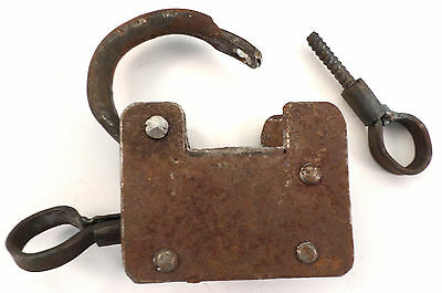 Vintage Iron Padlock And Screw Key Set Antique Patina