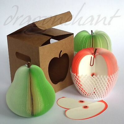 APPLE Shaped Notepad with GIFT BOX Novelty Memo Teacher Student Office Gift UK