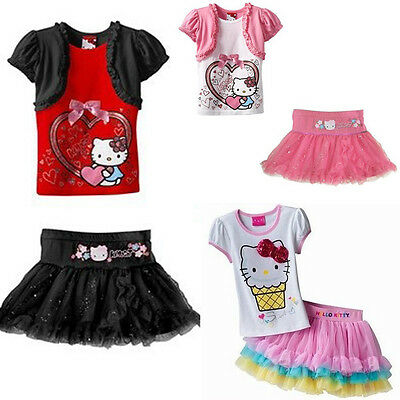 Girl Toddler hello kitty pink tutu dress top + skirt 2pcs set Size 2-6 years