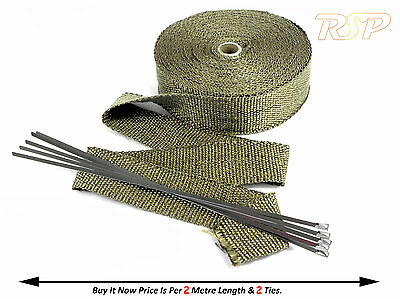 2m Of High Temp Titanium Fibre Exhaust Manifold Downpipe Heat Wrap & 2 Ties B4