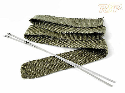2m Of High Temp Titanium Fibre Exhaust Manifold Downpipe Heat Wrap & 2 Ties M7