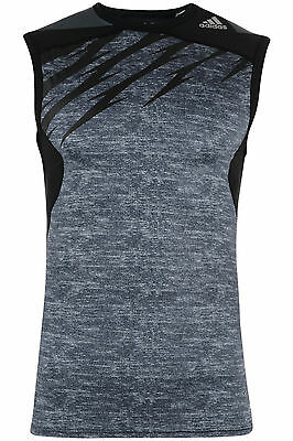 Mens Adidas TechFit Vest Top Sleeveless T-Shirt Base Layer Training Gym - Black