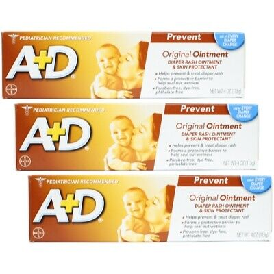 A + D Original Ointment, Diaper Rash & Skin Protectant - 4 oz tube (Pack of 3)
