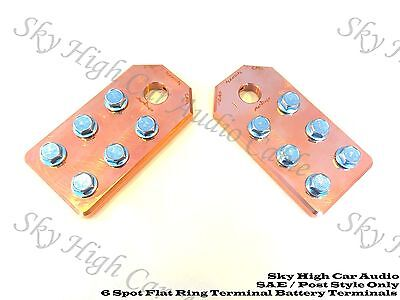 Pair of COPPER Sky High Car Audio SAE Post Any GA 6 Spot Flat BATTERY TERMINALS
