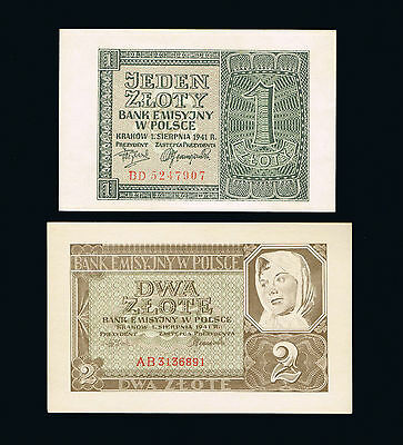 1941 Poland Set of 2 UNC banknotes: 1 and 2 Zloty Zlote Zlotych
