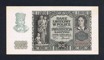 1940 Poland 20 Zlotych UNC banknote Uncirculated