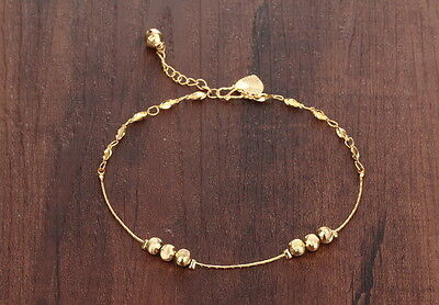 Genuine 18K Yellow Gold GP Hearts and Golden Beads Anklet Lady Party TI00065