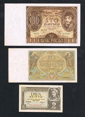 1929, 1934, 1936 Poland set of 3 circulated banknotes: 2, 10, 100 Zlotych Zlote