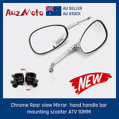 Chrome Skeleton skull claw Rear view Mirrors handle bar mounting 8mm 10mm motor