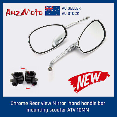 Motorcycle Chrome Rear view Side Mirrors handle bar mounting 10mm Universal