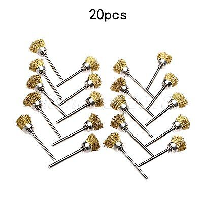 20PCS 15mm Brass Wire Cup Shape Polishing Wheel Brushes Rotary Tools Accessories