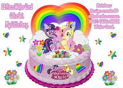 Miraculous Edible My Little Pony Rainbow Flowers Hearts Wafer Standup Funny Birthday Cards Online Alyptdamsfinfo
