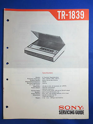 Sony Tr-1839 Service Manual Original Factory Issue  Good Cond