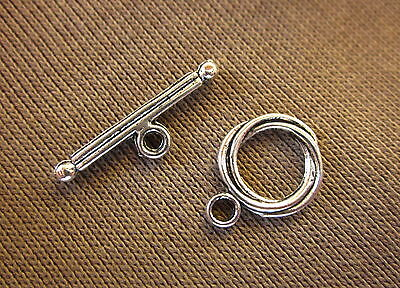 10 Antique Silver Colour Twist Toggle Clasps 16x12mm (Bar 24mm) #613