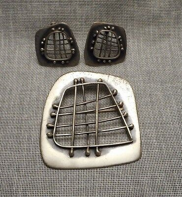 Signed Frank Miraglia NY Modernist Abstract Sterling Silver Brooch & Earrings