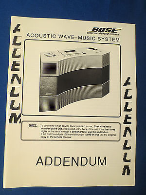 Bose Wave Addendum Service Manual Original Factory Issue Good Condition