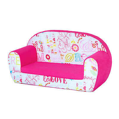 Hello There Pink Kids Children's Double Foam Sofa Toddlers Seat Nursery Chair